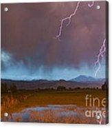 Lightning Striking Longs Peak Foothills 5 Acrylic Print