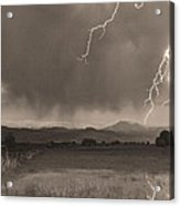 Lightning Striking Longs Peak Foothills 5bw Sepia Acrylic Print