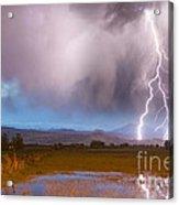 Lightning Striking Longs Peak Foothills 6 Acrylic Print