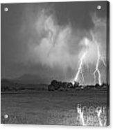 Lightning Striking Longs Peak Foothills 8cbw Acrylic Print