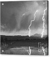 Lightning Striking Longs Peak Foothills Bw Acrylic Print