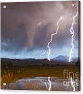 Lightning Striking Longs Peak Foothills Acrylic Print