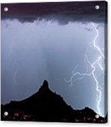 Lightning Thunderstorm At Pinnacle Peak Acrylic Print by James BO  Insogna