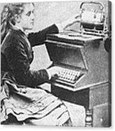 Lillian Sholes, The First Typist, 1872 Acrylic Print
