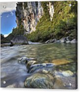 Limestone Cliffs And Fox River, Paparoa Acrylic Print