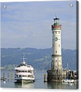 Lindau Harbor With Ship Bavaria Germany Acrylic Print by Matthias Hauser