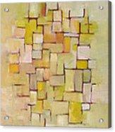 Line Series Yellow Basket Weave Acrylic Print