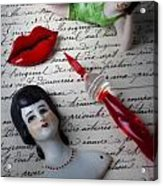Lips Pen And Old Letter Acrylic Print by Garry Gay
