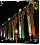Lisbon Historic Aqueduct By Night Acrylic Print