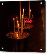 Lit Candles In A Church Acrylic Print