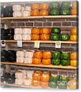 Little Cheeses On A Shelf In Amsterdam Acrylic Print