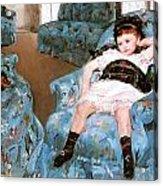 Little Girl In A Blue Armchair Acrylic Print