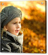 Little Girl In Autumn Leaves Scenery At Sunset Acrylic Print