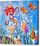 Little Mermaid In The Sea Acrylic Print by Janna Columbus