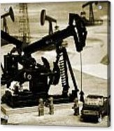 Little Pumpjacks Acrylic Print by Ricky Barnard