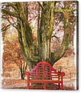 Little Red Bench Acrylic Print by Debra and Dave Vanderlaan