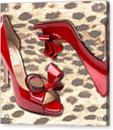 Little Red Bow Peep Toes Acrylic Print