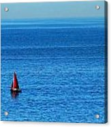 Little Red Sailboat Giant Blue Sea Acrylic Print