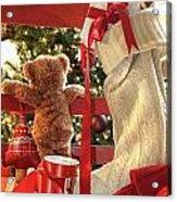 Little Teddy Bear Looking Through Chair Acrylic Print