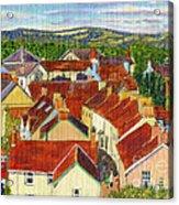 Painting Llandovery Roof Tops Acrylic Print