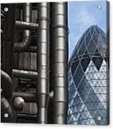 Lloyds Of London And The Gherkin Building Acrylic Print