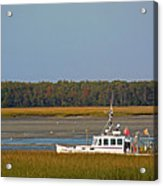 Lobster Boat Along Maine Acrylic Print