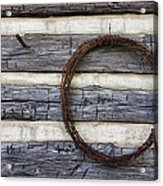 Log Cabin And Barbed Wire Acrylic Print