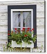 Log Home And Flower Box In The Window Acrylic Print