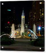 Logan Circle Fountain With City Hall At Night Acrylic Print by Bill Cannon