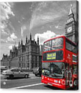 London Big Ben And Red Bus Acrylic Print