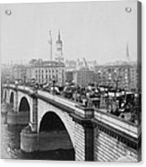 London Bridge Showing Carriages - Coaches And Pedestrian Traffic - C 1900 Acrylic Print