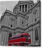 London Bus At St. Paul's Acrylic Print