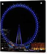 London Eye All Done Up In Blue Light In The Night With A Small Reflection In The Thames Acrylic Print