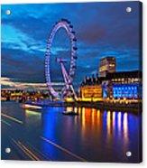 london Eye Nightscape Acrylic Print by Arthit Somsakul