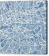 London Map Art Steel Blue Acrylic Print