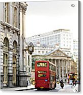 London Street With View Of Royal Exchange Building Acrylic Print by Elena Elisseeva