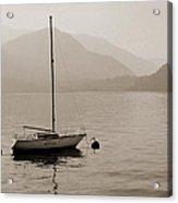 Lone White Boat On Lake Como In Sepia Acrylic Print