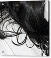 Long Dark Hair Of A Woman On White Pillow Acrylic Print