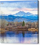 Longs Peak And Mt Meeker Sunrise At Golden Ponds Acrylic Print