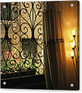 Looking Through Iron Filagree Window Acrylic Print