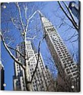 Looking Up Through Trees At Skyscrapers Acrylic Print by Axiom Photographic
