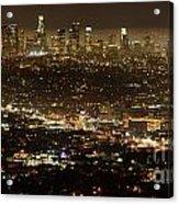 Los Angeles  City View At Night  Acrylic Print