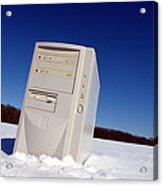 Lost Computer In Snow Acrylic Print