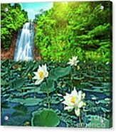 Lotus And Waterfall Acrylic Print