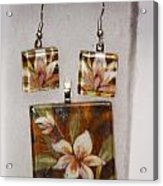 Lotus Flower Pendant And Earring Set Acrylic Print