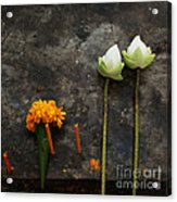 Lotus Flowers On A Thai Shrine Acrylic Print