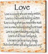 Love Poem In Orange Acrylic Print