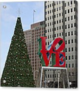 Love Park Philadelphia - Winter Acrylic Print
