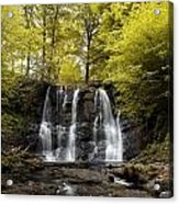 Low Angle View Of A Waterfall In A Acrylic Print