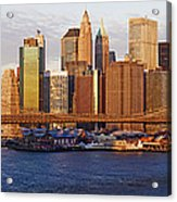 Lower Manhattan And The Brooklyn Bridge Acrylic Print by Jeremy Woodhouse